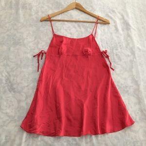 Victoria's Secret coral red silk slip dress S